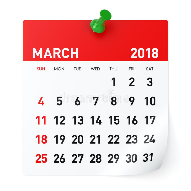 march-calendar-isolated-white-background-d-illustration-97170686