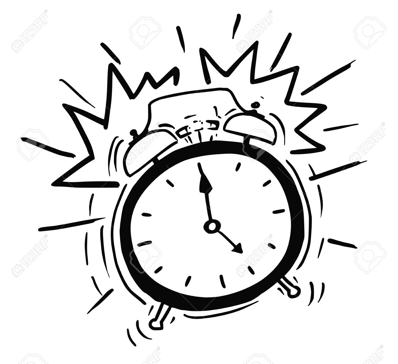 Vector Cartoon  of the Classicl Alarm Clock Ringing